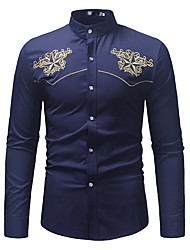 cheap -Men's Daily Work Business / Vintage / Basic Slim Shirt - Color Block / Solid Colored Embroidered Black / Long Sleeve