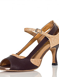 cheap -Women's Latin Shoes Sneaker Glitter Splicing Flared Heel Gold Ankle Strap Sparkling Shoes