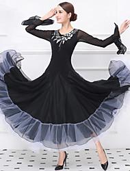 cheap -Ballroom Dance Dresses Women's Training / Performance Crystal Cotton / Tulle / Lycra Embroidery / Split Joint Long Sleeve Natural Dress