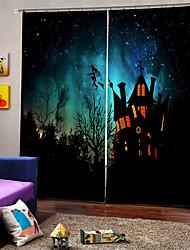 abordables -thème de luxe halloween heureux la sorcière a survolé le rideau de fond du château 3d digtal impression rideaux de la fenêtre blackout custom ready ready