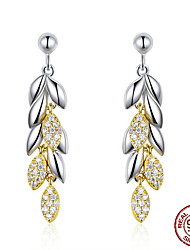 cheap -925 Sterling Silver Unique Wheat Drop Earrings for Women Gold Color Wheat Leaves Earrings Sterling Silver Jewelry BSE025