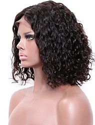 cheap -Remy Human Hair Lace Front Wig style Brazilian Hair Jerry Curl Black Wig 130% Density Women's Medium Length Human Hair Lace Wig beikashang