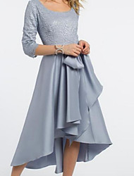 cheap -A-Line Jewel Neck / Scoop Neck Tea Length Lace / Satin Half Sleeve Elegant & Luxurious Mother of the Bride Dress with Sash / Ribbon / Ruching / Pleats 2020