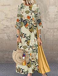 cheap -Women's Maxi Plus Size Yellow Navy Blue Dress Swing Floral S M