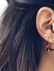 cheap -Women's Ear Piercing Drop Earrings Hoop Earrings Vintage Style Moon Star Bohemian Ethnic Fashion Boho Gold Plated Earrings Jewelry Gold For Carnival Prom Holiday Club Bar 3pcs