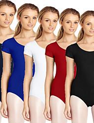 cheap -Women's Scoop Neck Classic Ballet Leotard Tank Leotard Solid Color Spandex Lycra Ballet Dance Aerial Yoga Bodysuit Short Sleeve Activewear Breathable Moisture Wicking Quick Dry High Elasticity Slim