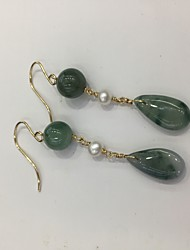 cheap -Women's Jade Drop Earrings Plaited Wrap Precious 14K Gold Earrings Jewelry Light Green For Gift 1 Pair