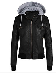 cheap -Women's Daily Basic Fall & Winter Short Jacket, Solid Colored Hooded Long Sleeve PU Brown / Black / Light Brown