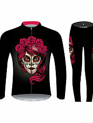 cheap -21Grams Sugar Skull Women's Long Sleeve Cycling Jersey with Tights - Black / Red Bike Clothing Suit Windproof UV Resistant Breathable Sports Winter 100% Polyester Mountain Bike MTB Clothing Apparel