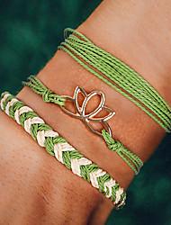 cheap -3pcs Women's Wrap Bracelet Vintage Bracelet Earrings / Bracelet Layered Weave Lotus Simple Classic Vintage Ethnic Fashion Cord Bracelet Jewelry Black / Green / Light Blue For Daily School Street