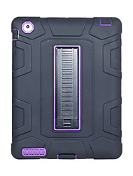 cheap -Case For Apple iPad 4/3/2 Shockproof / with Stand Back Cover Solid Colored Silica Gel / PC