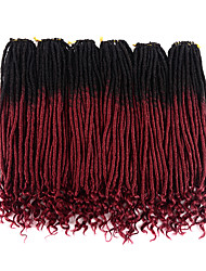 cheap -Ombre Hair Weaves / Hair Bulk Hair Care Twist Braids Curly Synthetic Hair 20 inch Hair Extension Hair weave Toupee Burgundy 3 Pieces Classic Easy to Carry 100% kanekalon hair Women's Wedding Party