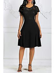 cheap -Women's Plus Size Basic Slim Sheath Dress - Solid Colored Lace Black Wine Navy Blue S M L XL