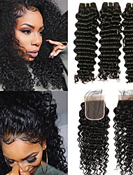 cheap -3 Bundles with Closure Indian Hair Deep Wave Remy Human Hair Unprocessed Human Hair 330 g Bundle Hair Hair Weft with Closure 8-20 inch Natural Color Human Hair Weaves Newborn Valentine Creative Human