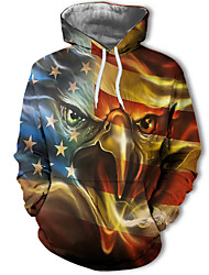 cheap -Men's Casual / Basic Hoodie - 3D / Character / Letter Rainbow US34 / UK34 / EU42