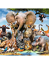 cheap -1000 pcs Animal Series Elephant Jigsaw Puzzle Decompression Toys Adult Puzzle Jumbo Wooden Cartoon Kid's Adults' Toy Gift