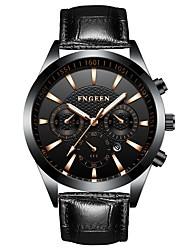 cheap -Men's Dress Watch Quartz Formal Style Modern Style PU Leather Black 30 m Calendar / date / day Noctilucent Analog Luxury Fashion - Black Black / White One Year Battery Life / Stainless Steel