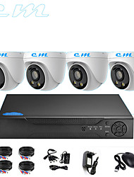 cheap -4CH AHD Monitor Set CCTV 1080P Indoor Hemisphere Warm Light Full Color Night Vision Camera 2 Million