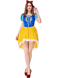 cheap -Snow White Party Costume Costume Adults' Female Cosplay Halloween Performance Halloween Masquerade Festival / Holiday Lace Polyester Yellow+Blue Female Carnival Costumes Lace
