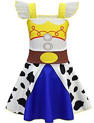 cheap -Toddler Girls' Basic Geometric Color Block Sleeveless Knee-length Dress Blue