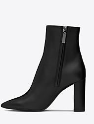 cheap -Women's Boots Chunky Heel Pointed Toe Faux Leather Booties / Ankle Boots British / Minimalism Spring &  Fall / Winter Black / Party & Evening