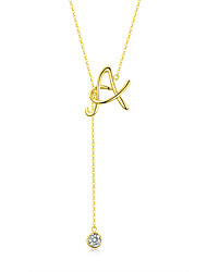 cheap -Women's AAA Cubic Zirconia Pendant Necklace Classic Classic S925 Sterling Silver Gold 45 cm Necklace Jewelry 1pc For Daily