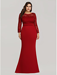 cheap -Mermaid / Trumpet Plus Size Red Wedding Guest Formal Evening Dress Illusion Neck Long Sleeve Floor Length Lace Jersey Floral Lace with Lace Insert 2020 / Illusion Sleeve