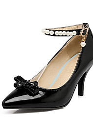 cheap -Women's Heels Stiletto Heel Pointed Toe Rhinestone / Bowknot / Imitation Pearl PU Spring &  Fall Black / Wine / Blue / Wedding