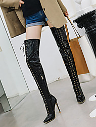 cheap -Women's Boots Over-The-Knee Boots Stiletto Heel Pointed Toe Patent Leather Over The Knee Boots Classic / Minimalism Fall & Winter Black / White / Red / Wedding / Party & Evening