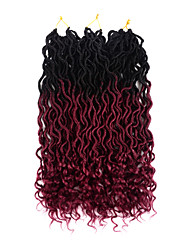 cheap -Ombre Hair Weaves / Hair Bulk Hair Care Twist Braids Curly Synthetic Hair 20 inch Hair Extension Hair weave Toupee Burgundy 3 Pieces Classic Easy to Carry 100% kanekalon hair Women's Tea Party