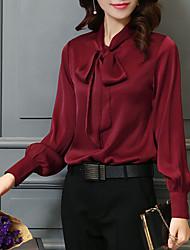 cheap -Women's Solid Colored Shirt Street Festival Shirt Collar Wine / White / Black / Blushing Pink