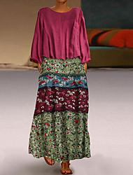 cheap -Women's Plus Size Basic Maxi Loose Shift Dress - Floral Print Red Green Navy Blue M L XL XXL
