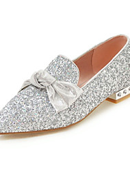 cheap -Women's Heels Chunky Heel Pointed Toe Bowknot / Sequin Synthetics Spring &  Fall Silver / Pink / Wedding / Party & Evening
