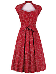 cheap -Vintage Dress Women's Costume Red Vintage Cosplay Date Street Short Sleeve Midi A-Line