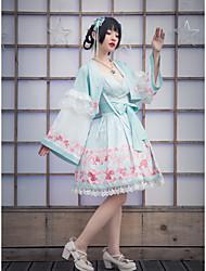 cheap -Floral Japan and Korea Style Sweet Lolita Cosplay Costume Japanese Traditional Kimono Female Japanese Cosplay Costumes Mint Green Flower Flare Sleeve Long Sleeve Knee Length