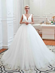 cheap -Ball Gown Wedding Dresses V Neck Court Train Tulle Regular Straps Simple Glamorous Backless with Ruched 2020