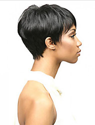Недорогие -Натуральные волосы Лента спереди Парик Боковая часть стиль Бразильские волосы Прямой Черный Парик 130% Плотность волос Классический Женский Жен. Короткие