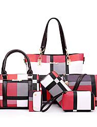 cheap -Women's Bags PU Leather Bag Set 6 Pieces Purse Set Zipper Solid Color Lattice Bag Sets Daily Outdoor Black Blue Red Green