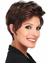 cheap -Lace Front Curly Free Part Pixie Cut Swiss Lace Human Hair All / Unisex Natural / Hot Sale / Comfortable / Brown / African American Wig