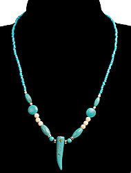 cheap -Women's Blue Green Turquoise Necklace Beads Weave Classic Vintage Ethnic Fashion Chrome Stone Blue 53 cm Necklace Jewelry 1pc For Daily School Street Holiday Festival