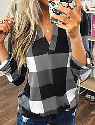 cheap -Women's Blouse Shirt Plaid Check Color Block Long Sleeve V Neck Tops Loose Basic Top Blue Purple Red