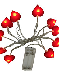cheap -1.5m Heart String Lights 10 LEDs Dip Led Warm White Party / Decorative / Wedding AA Batteries Powered 1pc