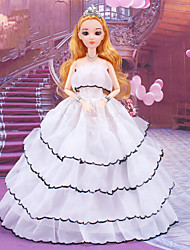 cheap -Doll accessories Doll Clothes Doll Dress Wedding Dress Party / Evening Ball Gown Embroidery Jacquard Tulle Poly / Cotton Lace Organza Polyester Jacquard For 11.5 Inch Doll Handmade Toy for Girl's