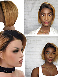 cheap -Remy Human Hair 4x13 Closure Wig Bob Middle Part style Brazilian Hair Straight Wig 130% Density Women Best Quality New New Arrival Hot Sale Women's Short Human Hair Lace Wig Human Hair Extensions