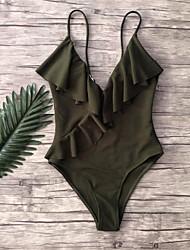 abordables -Femme Noir Vin Blanche Bikinis Maillots de Bain - Couleur Pleine S M L Noir