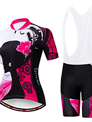 cheap -EVERVOLVE Floral Botanical Women's Short Sleeve Cycling Jersey with Bib Shorts - Black White Bike Clothing Suit Breathable Moisture Wicking Quick Dry Sports Cotton Polyster Lycra Mountain Bike MTB