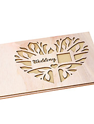 cheap -Guest Book Wood Creative With Metal Guest Book
