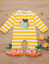 cheap -Baby Girls' Basic Print / Halloween Long Sleeve Cotton Romper Yellow