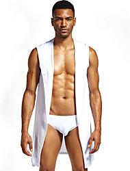 abordables -Homme Lacet Robe de chambre Vêtement de nuit Couleur Pleine Noir Blanche Marron S M L