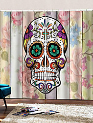 cheap -Wholesale Hallowmas 3D Digital Printing Colorful Skull with Beautiful Texture Window Curtain Luxury Party Decor Curtains Ready Made